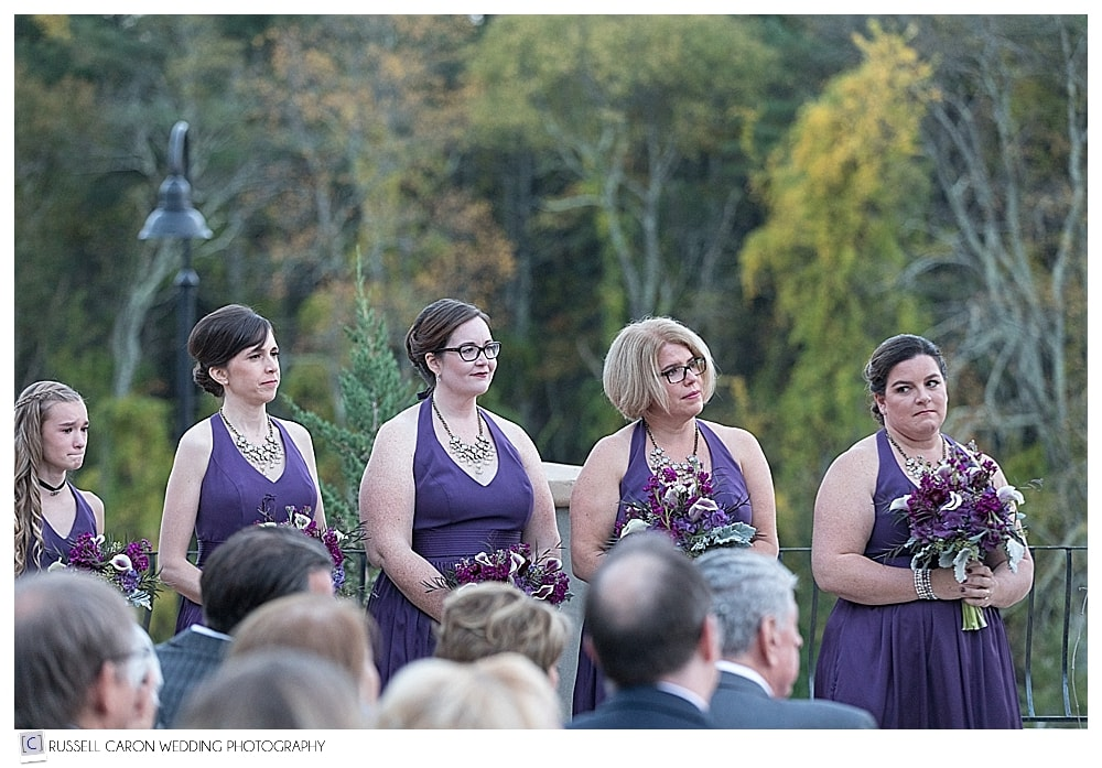 bridesmaids during LaBelle Winery wedding on the terrace