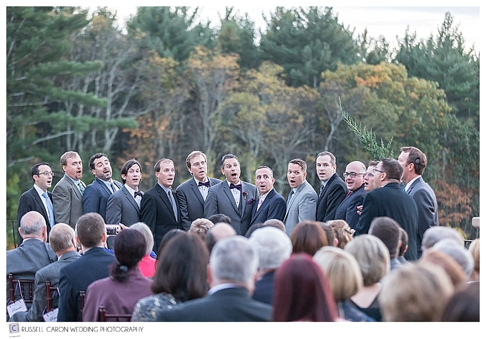 men's acapella group sings during wedding ceremony