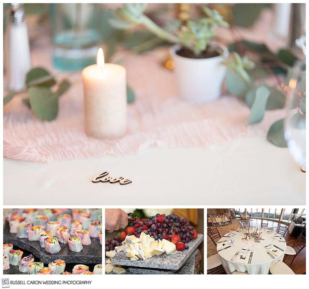 midcoast maine wedding reception details, northport, maine