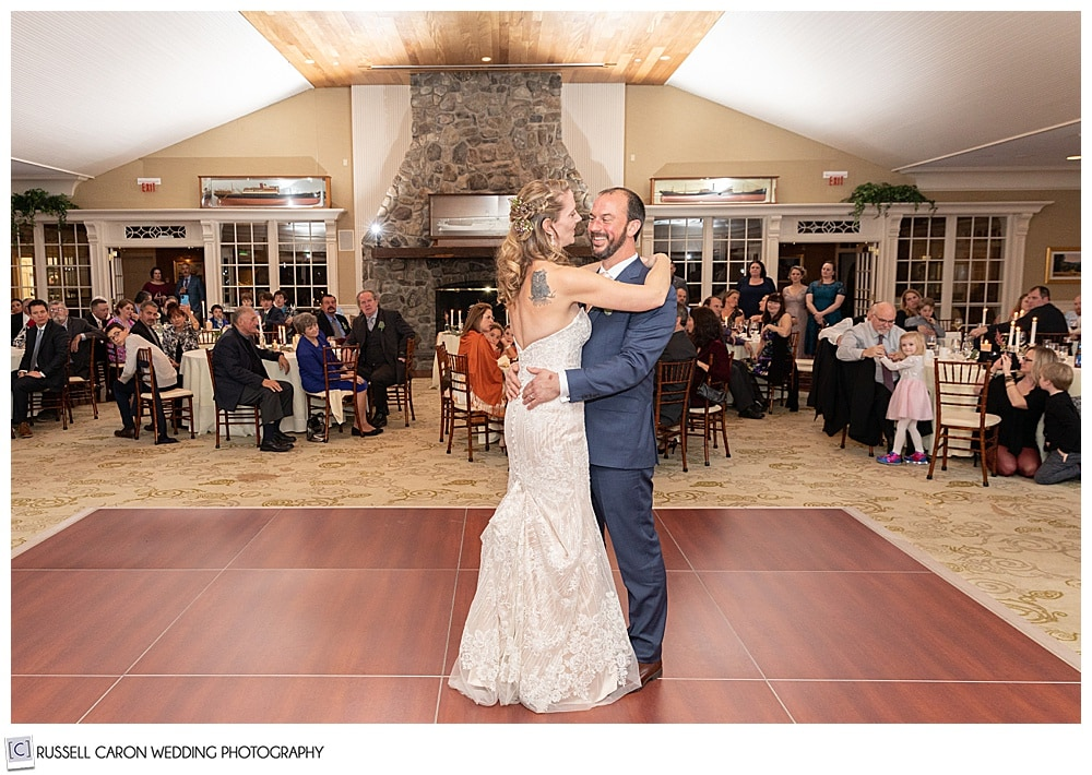 bride and groom on the dance floor at their midcoast maine wedding reception, northport, maine