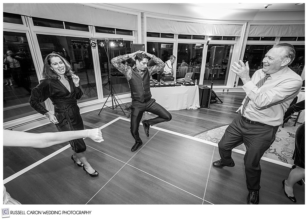 dancing fun at a midcoast maine wedding reception