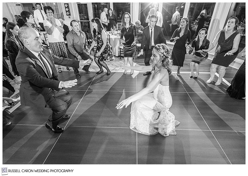 bride dancing at her midcoast maine wedding reception