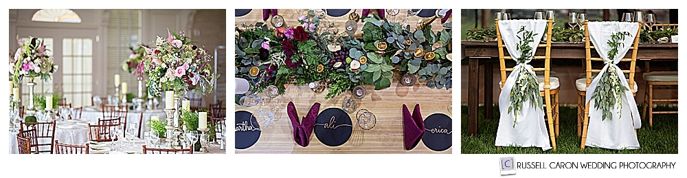 Three stunning table scapes by Maine wedding floral designers and florists