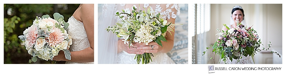 Three lovely bouquets from various Maine wedding floral designers and florists