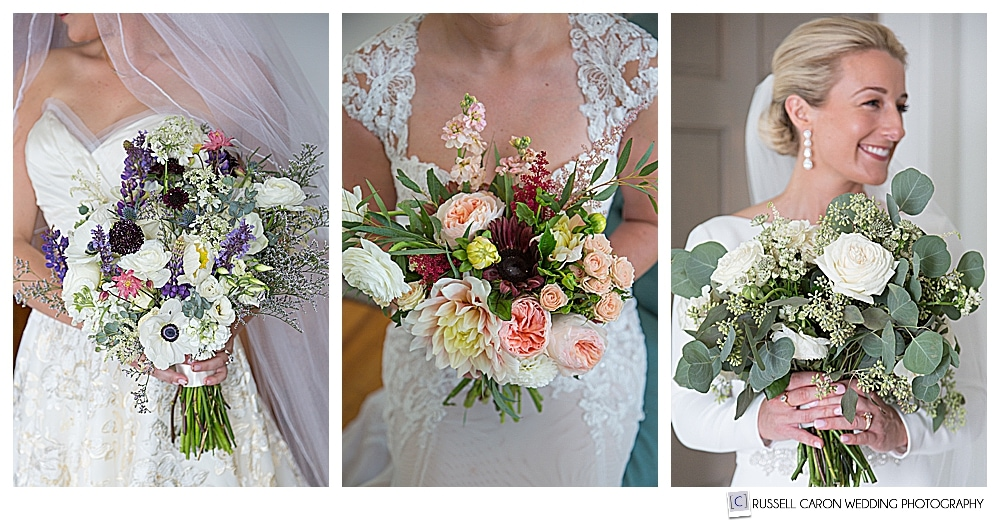 Three brides, with bouquets from Maine wedding floral designers and florists