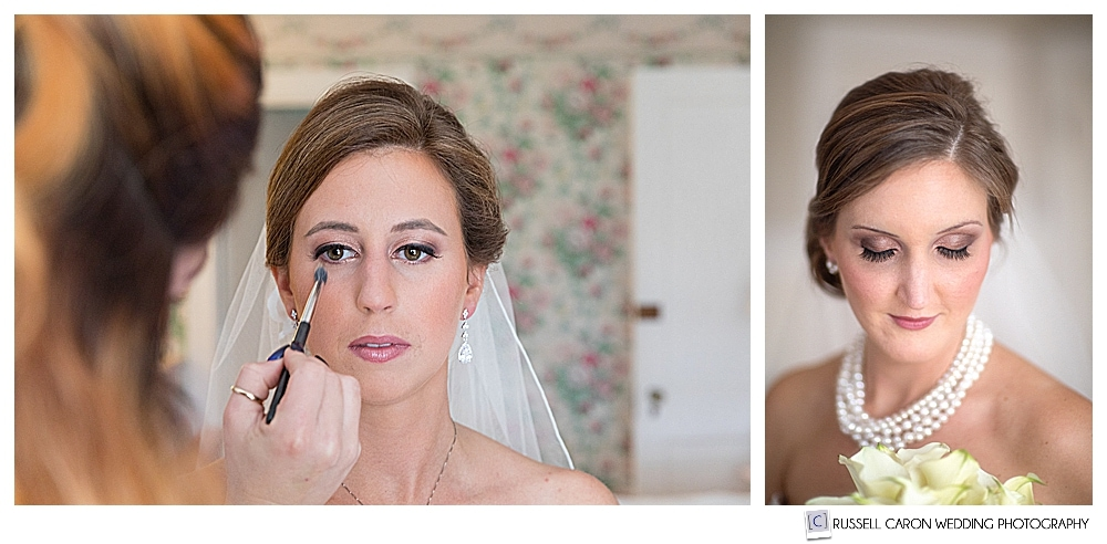 Two brides, one having makeup touched up, the other in a bridal portrait