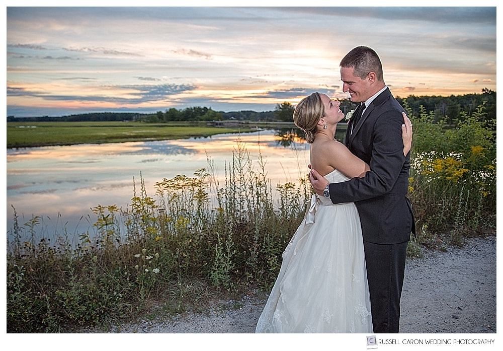 Bride and groom at the Scarborough Marsh at sunset
