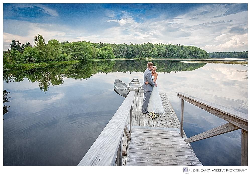 Bride and groom on the dock at Sebasco Harbor Resort, Phippsburg, Maine