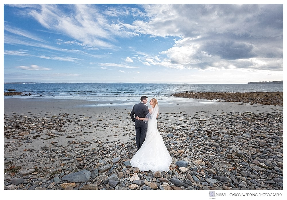 Bride and groom at Ducktrap Beach, Lincolnville, Maine