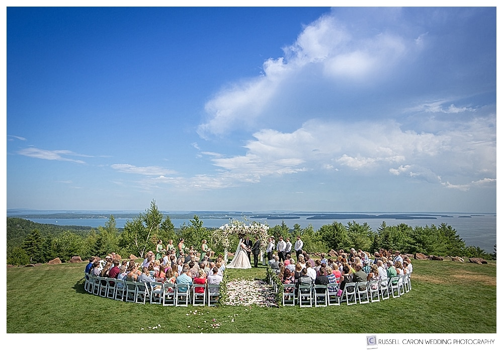 Wedding ceremony on the lawn at Point Lookout, Northport Maine