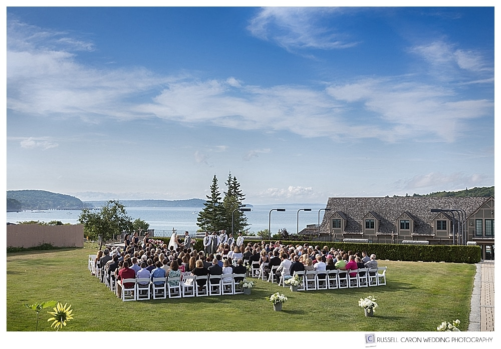 Wedding ceremony on the lawn at the Bar Harbor Club, Bar Harbor, Maine