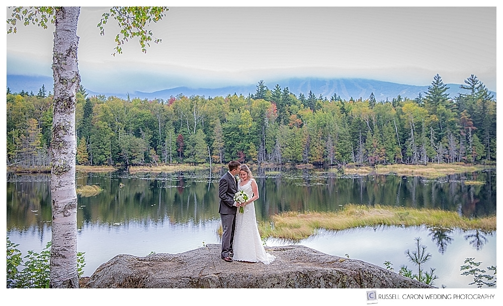Bride and groom at the Sugarloaf Mountain Outdoor Center, Sugarloaf Mountain, Maine