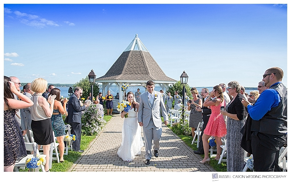 Bride and groom during recessional at French's Point, Stockton Springs, Maine