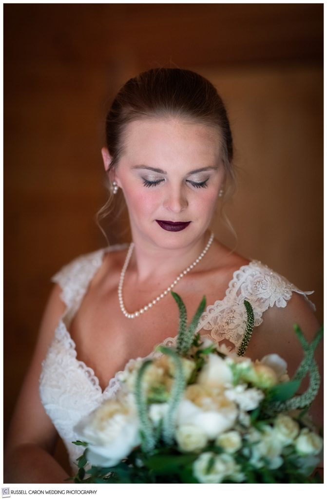 beautiful bridal portrait of bride with eyes closed