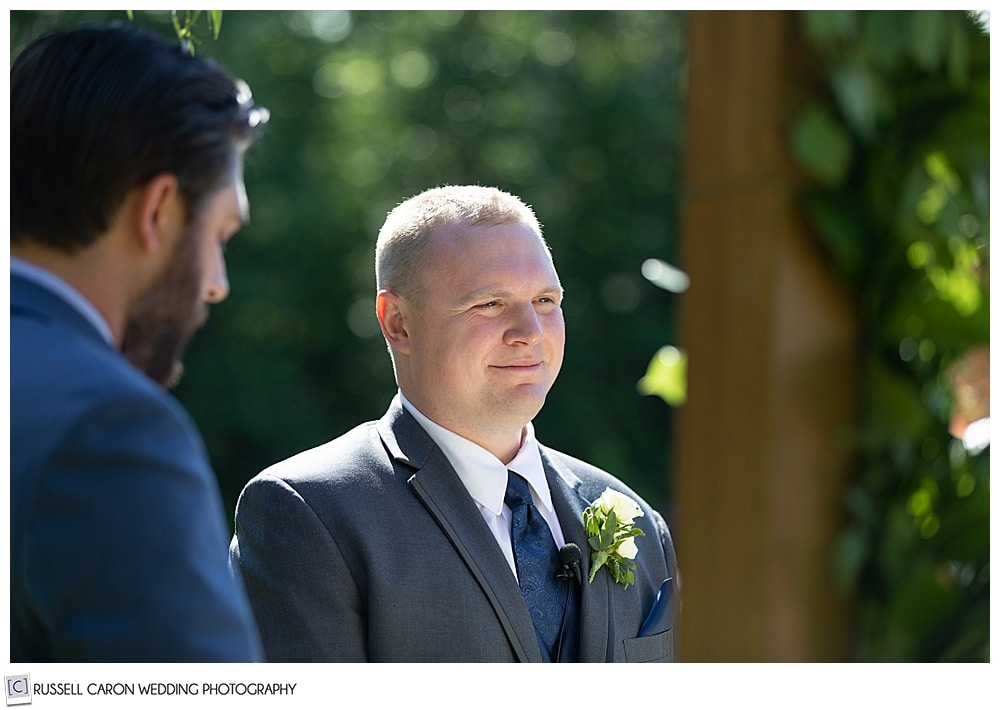 groom during an outdoor wedding at Moose Lake Ranch