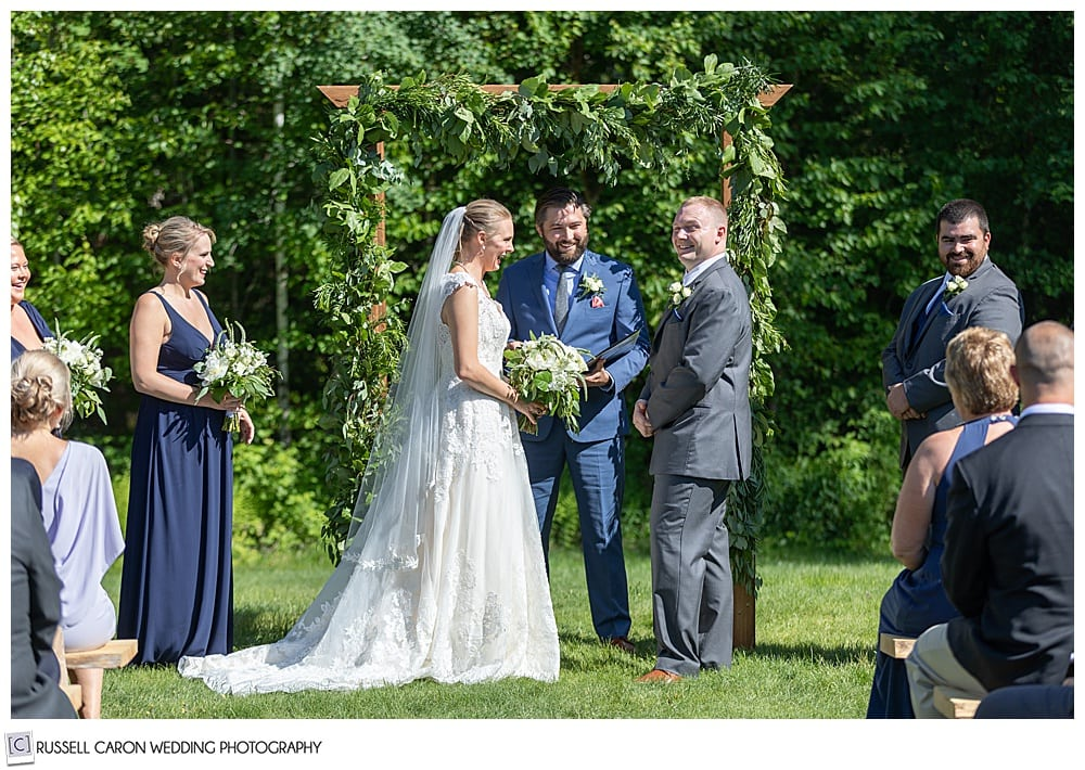 bride and groom during an outdoor Moose Lake Ranch wedding ceremony