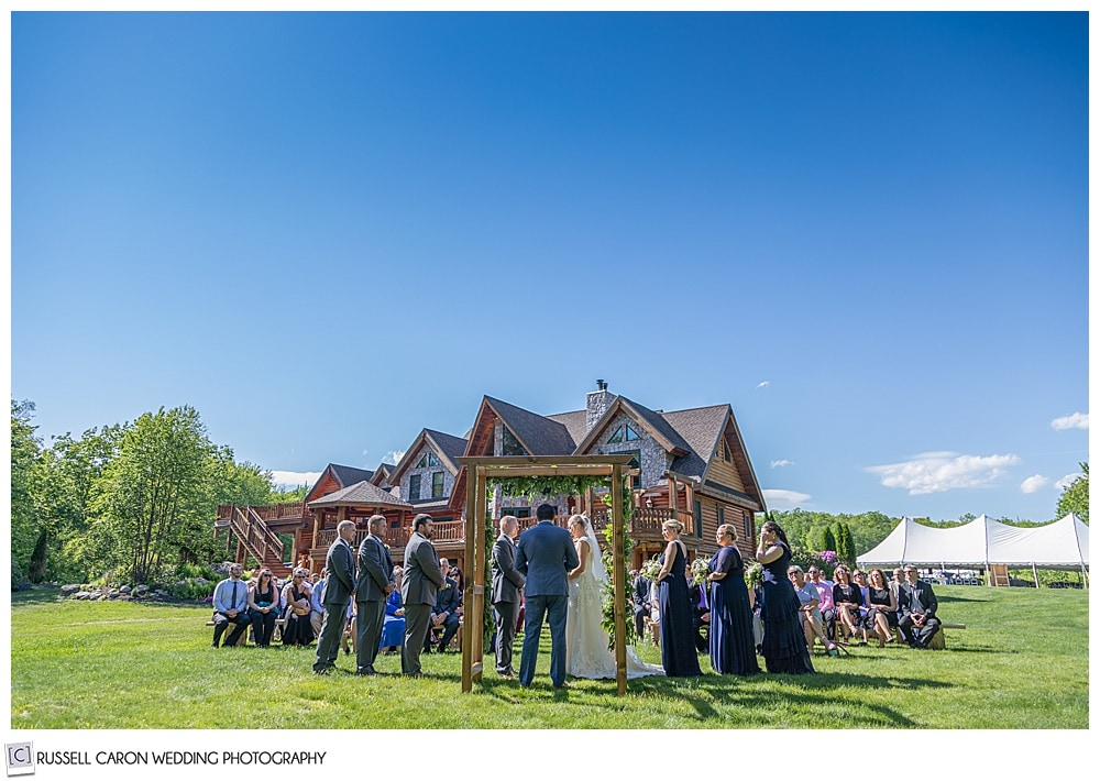 Outdoor wedding ceremony, and Moose Lake Ranch