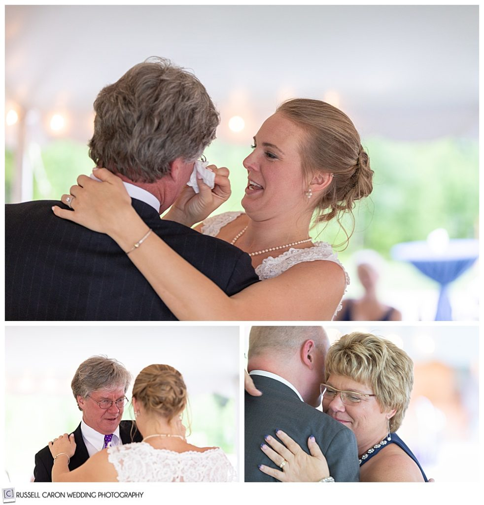 photos of bride dancing with her father, and groom dancing with his mother