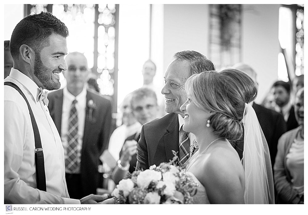 One of the special wedding moments of the year, when the bride and her father meet the groom at the altar