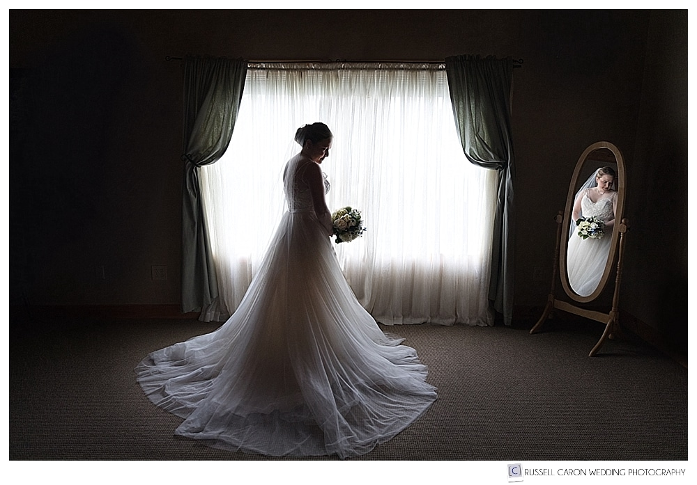 Bridal portrait at the Spruce Point Inn Boothbay Harbor Maine wedding