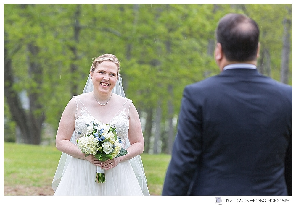 rainy late spring boothbay harbor wedding day first look photos