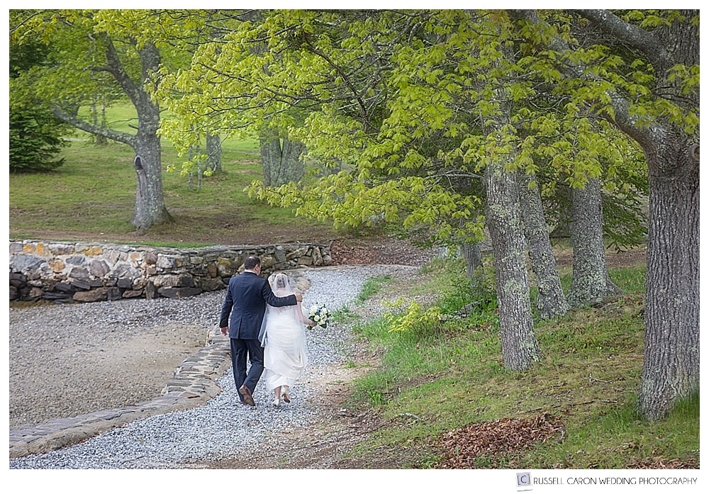 bride and groom walking in barrett park boothbay harbor maine