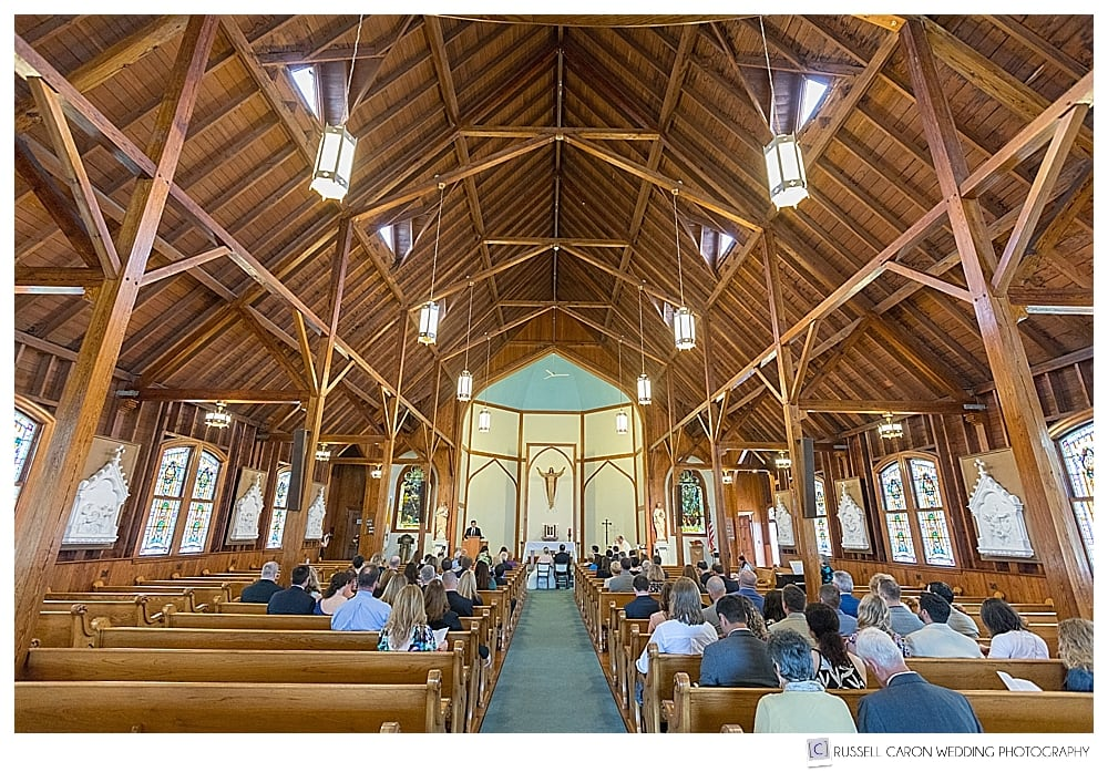 Wedding ceremony at Our Lady Queen of Peace Church Boothbay Harbor Maine