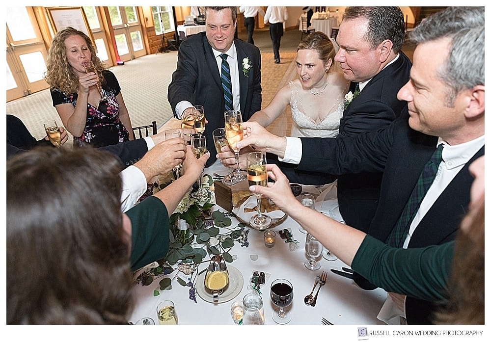 bride, groom and family and friends toasting with champagne