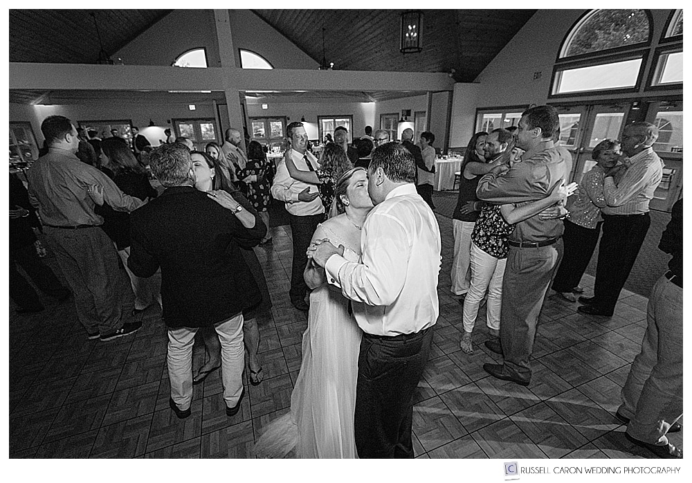 bride and groom dancing at the spruce point inn boothbay harbor maine