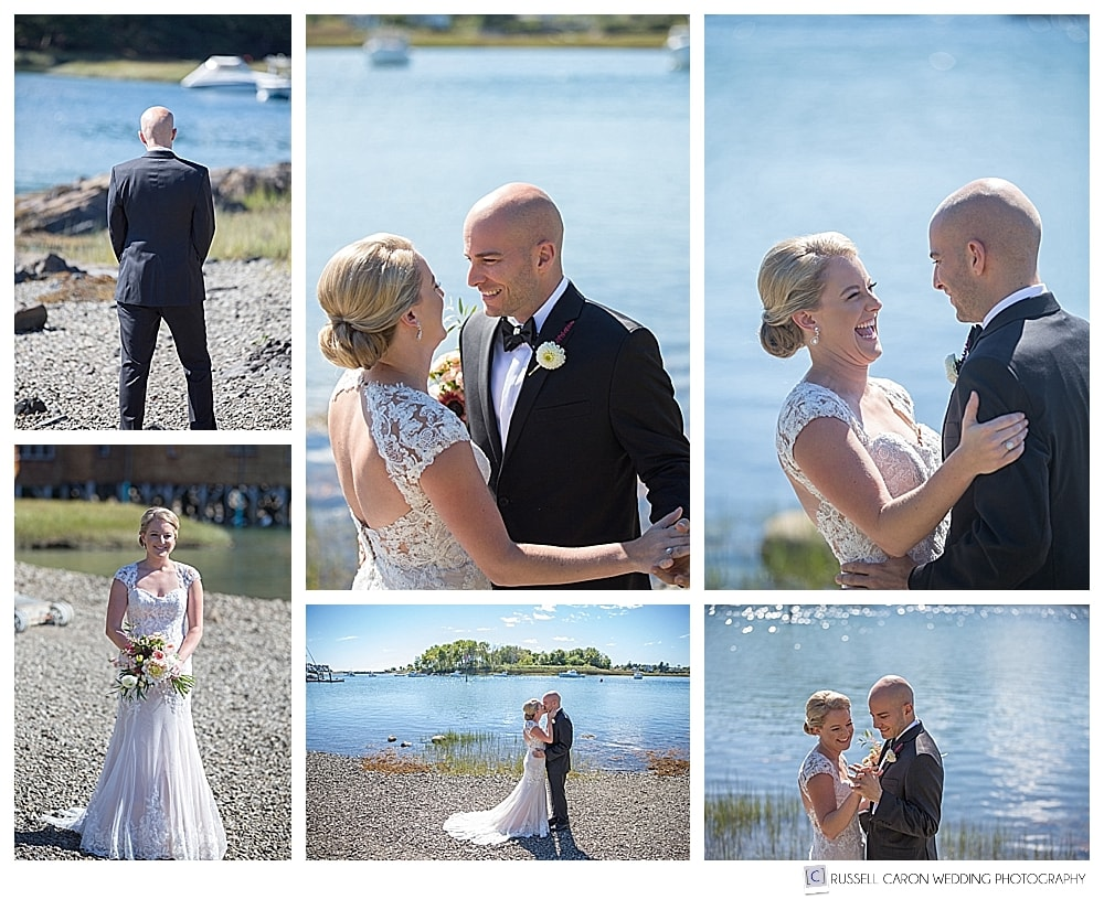 Wedding day first looks at the Nonantum Resort, Kennebunkport, Maine. Kennebunkport Maine wedding photographers