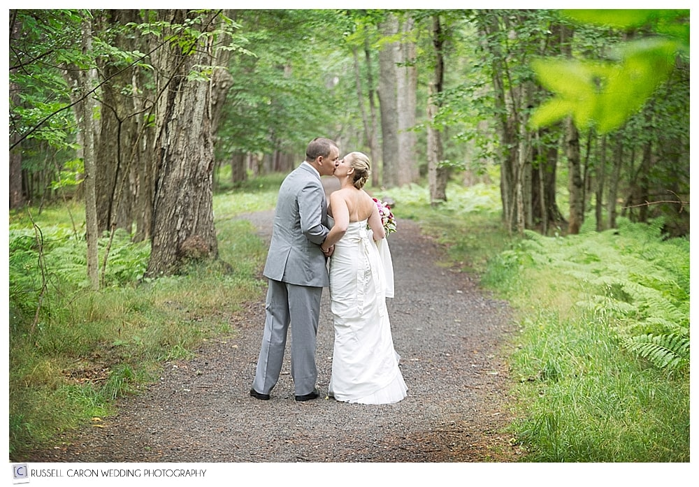 Bride and groom in Acadia National Park, Bar Harbor Maine wedding