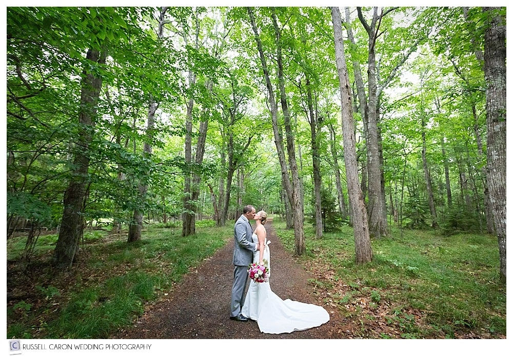 Bride and groom kissing in Acadia National Park, Bar Harbor Maine wedding