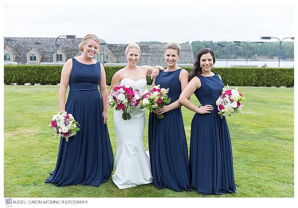 bride and bridesmaids at Bar Harbor Maine wedding