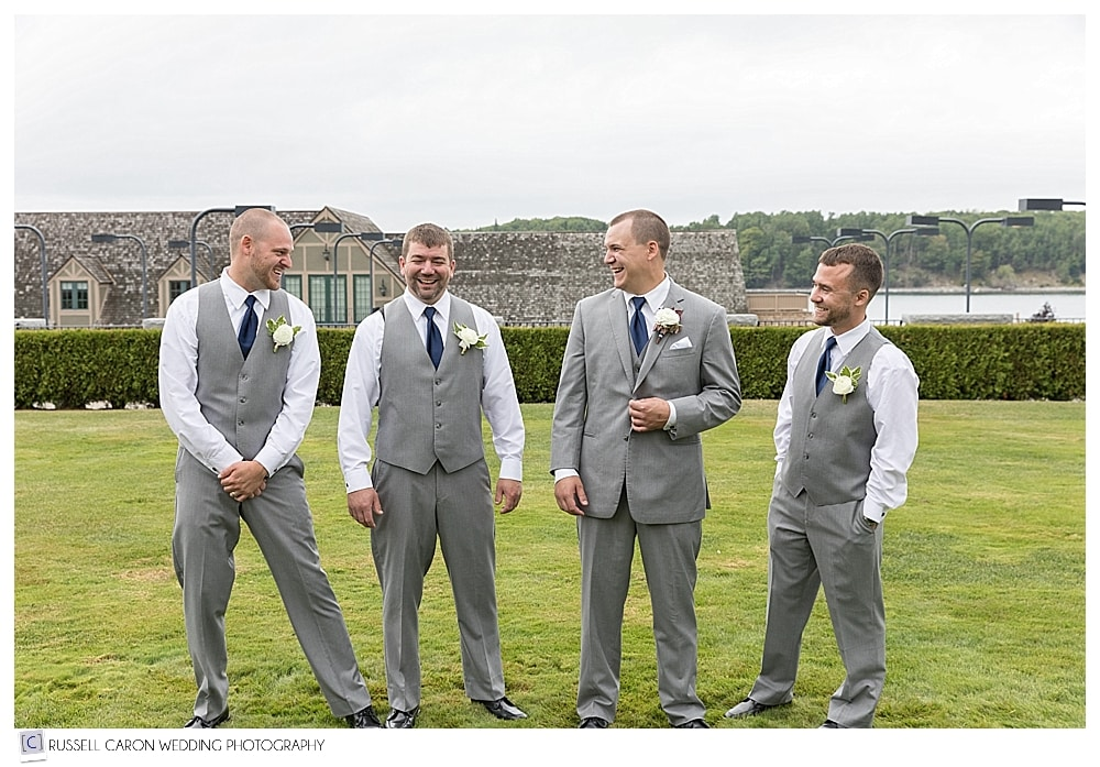 groom and groomsmen at Bar Harbor Maine wedding