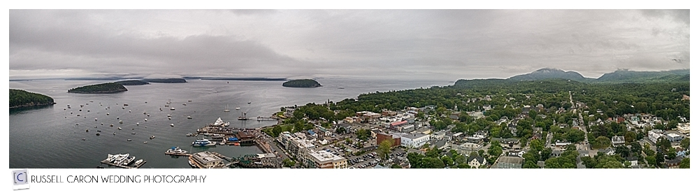 Drone photo of Bar Harbor Maine by Maine drone wedding photographers