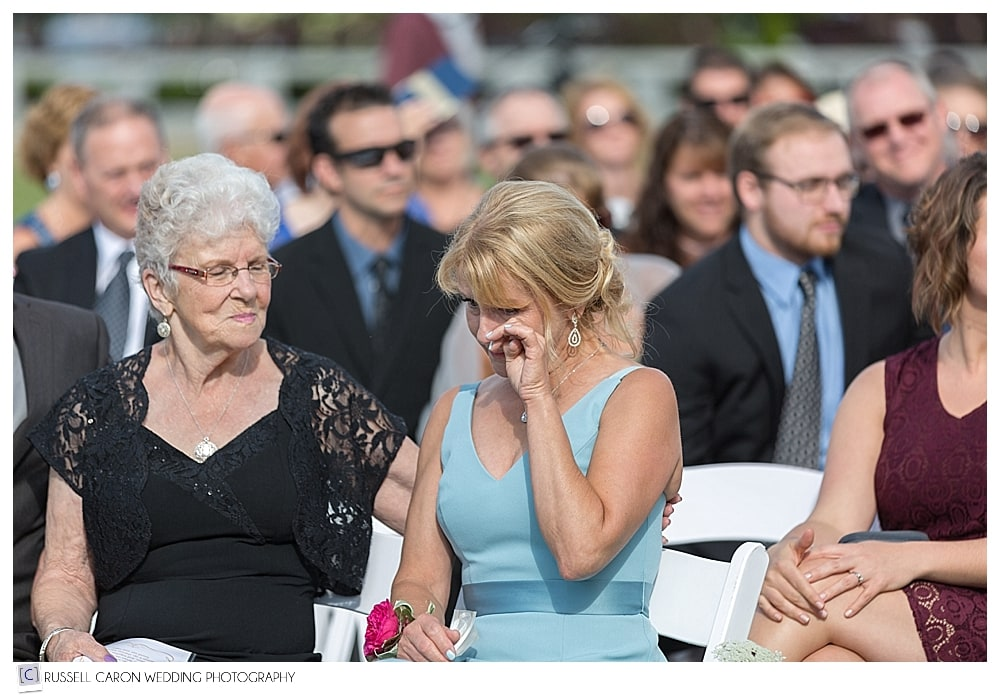 mother of the groom crying during Bar Harbor Club wedding