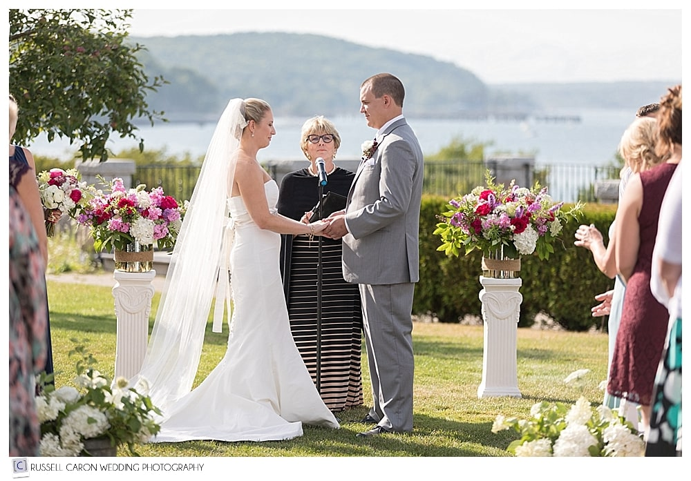 bride and groom during outdoor wedding ceremony at Bar harbor Club wedding, Bar Harbor, Maine