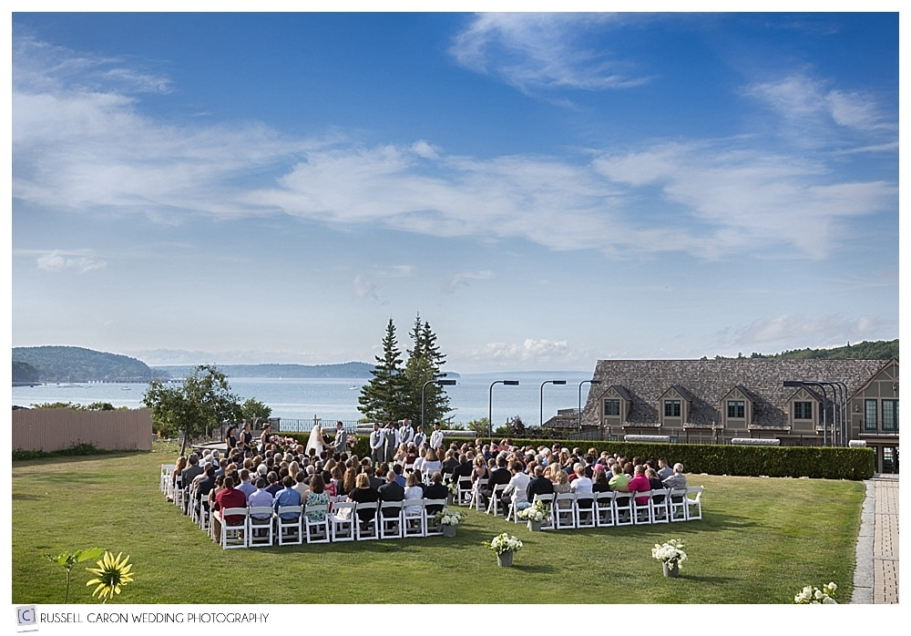 outdoor wedding ceremony at the Bar Harbor Club, Bar Harbor Maine wedding
