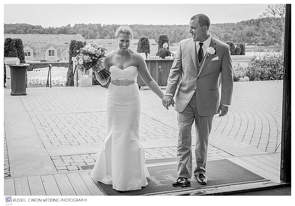 bride and groom entering their wedding reception at the Bar Harbor Club, Bar Harbor Maine