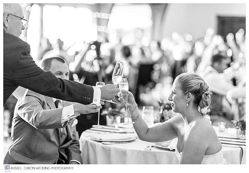 Bride and her father toasting each other during wedding reception