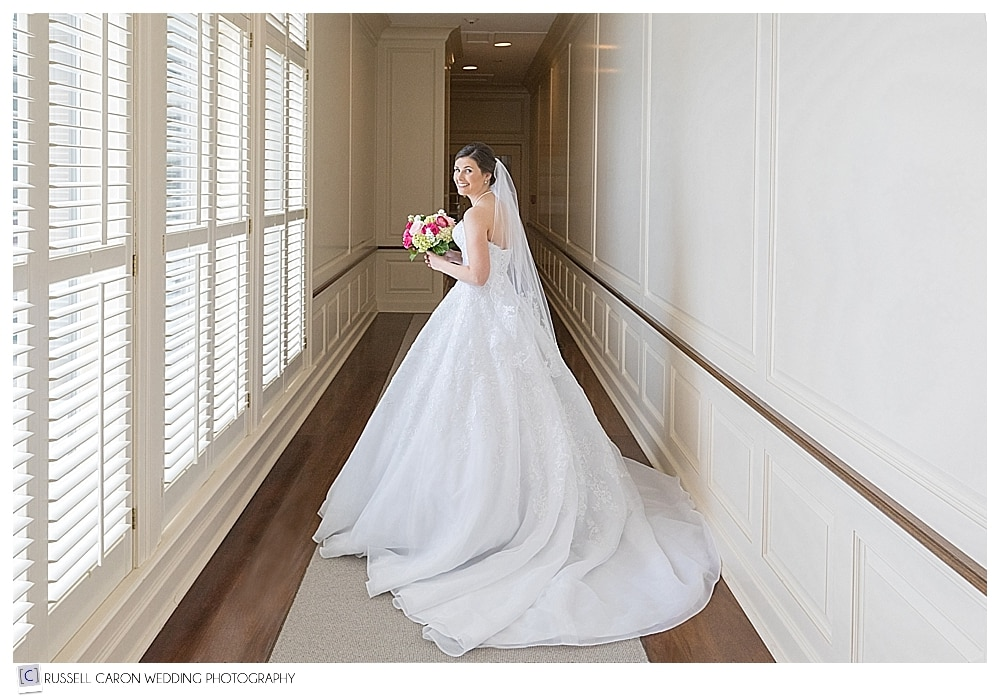 Lovely bride walking in the hallway, beautiful point lookout wedding