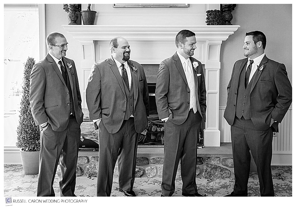 Groom with groomsmen at beautiful point lookout wedding