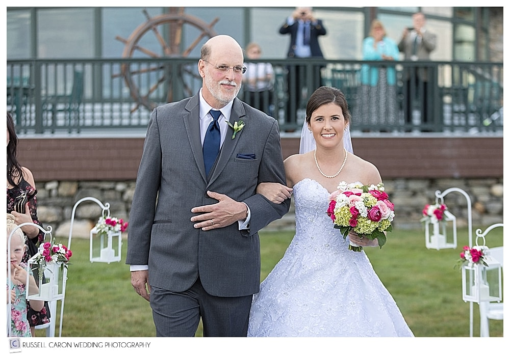 bride and her father walk down the aisle at a beautiful Point Lookout wedding, Northport, Maine