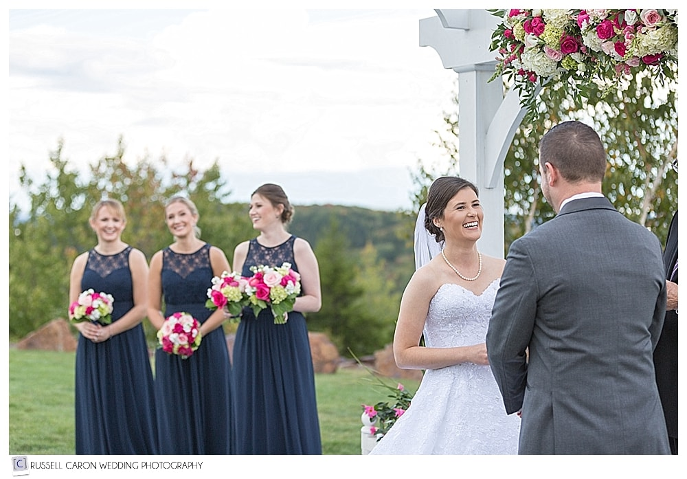 Bride during a beautiful Point Lookout wedding ceremony, Northport, Maine