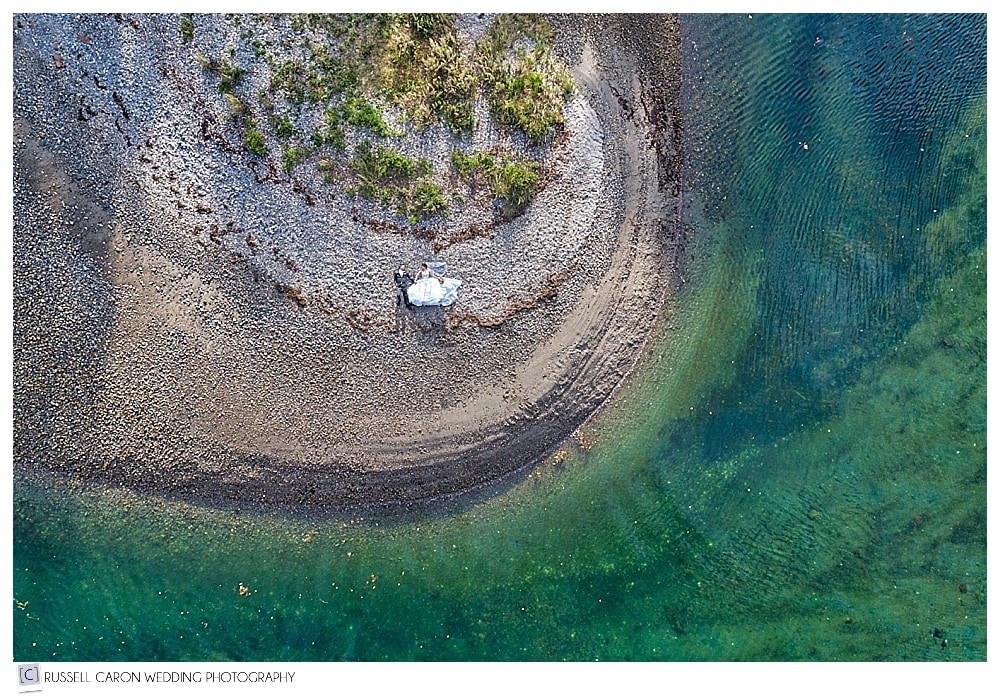 Maine drone wedding photography of bride and groom