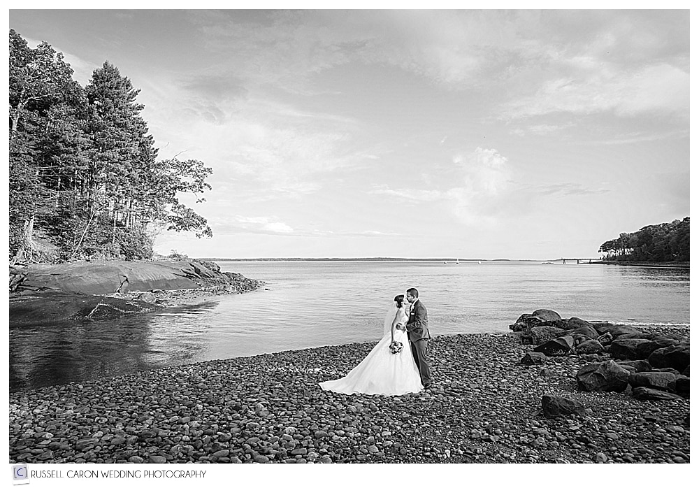 bride and groom on the rocky coast of Maine