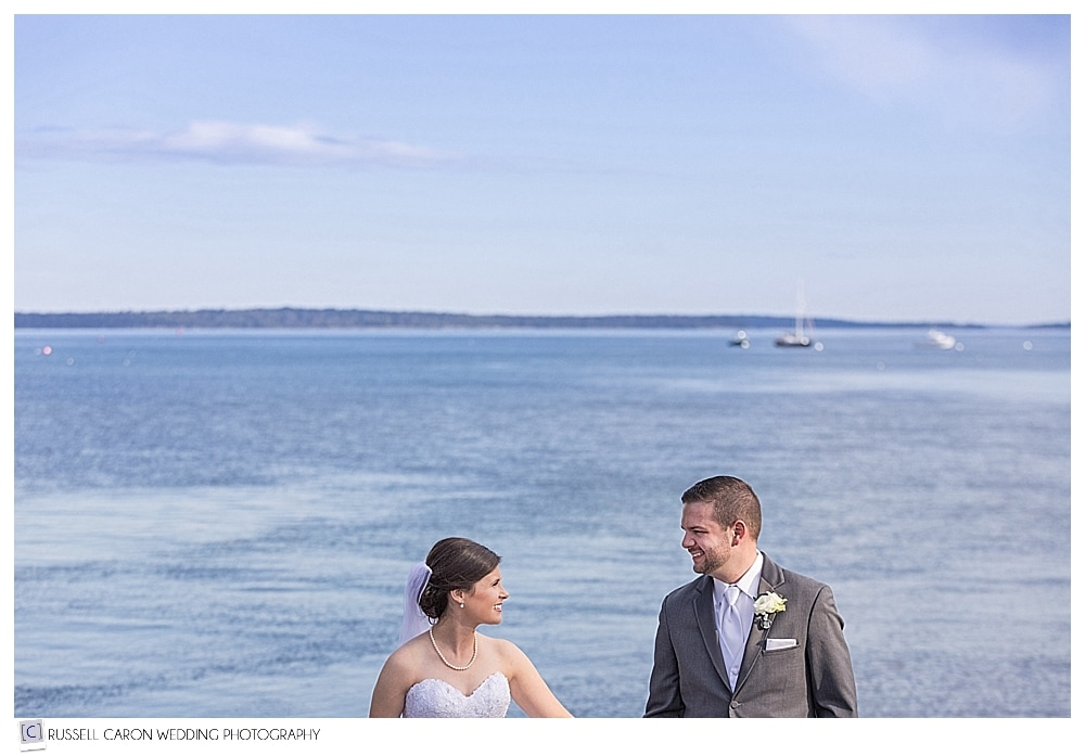 bride and groom at a Maine beach
