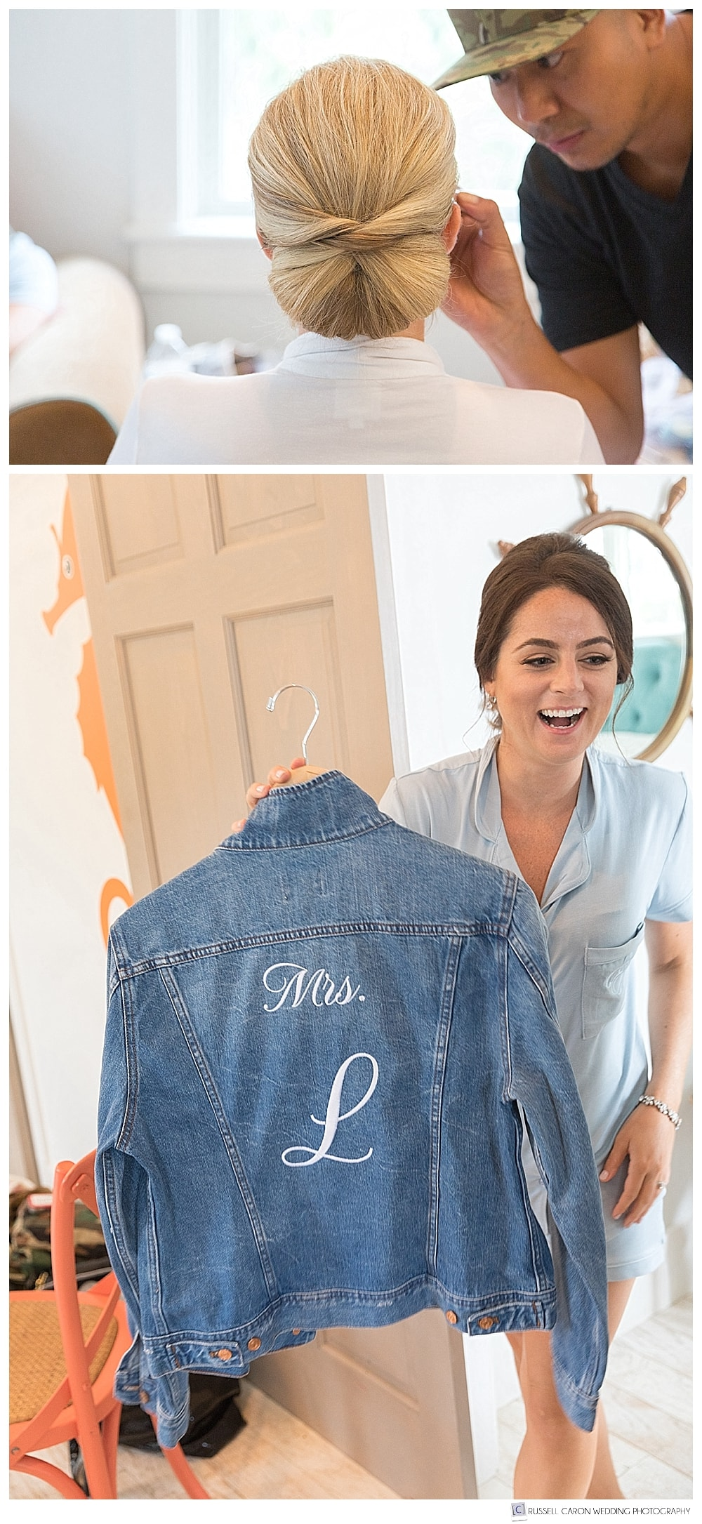 woman holding up denim jacket with Mrs L on the back