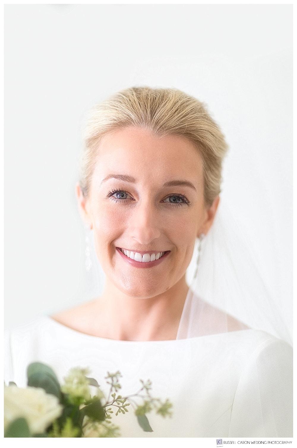 beautiful bridal portrait of smiling bride