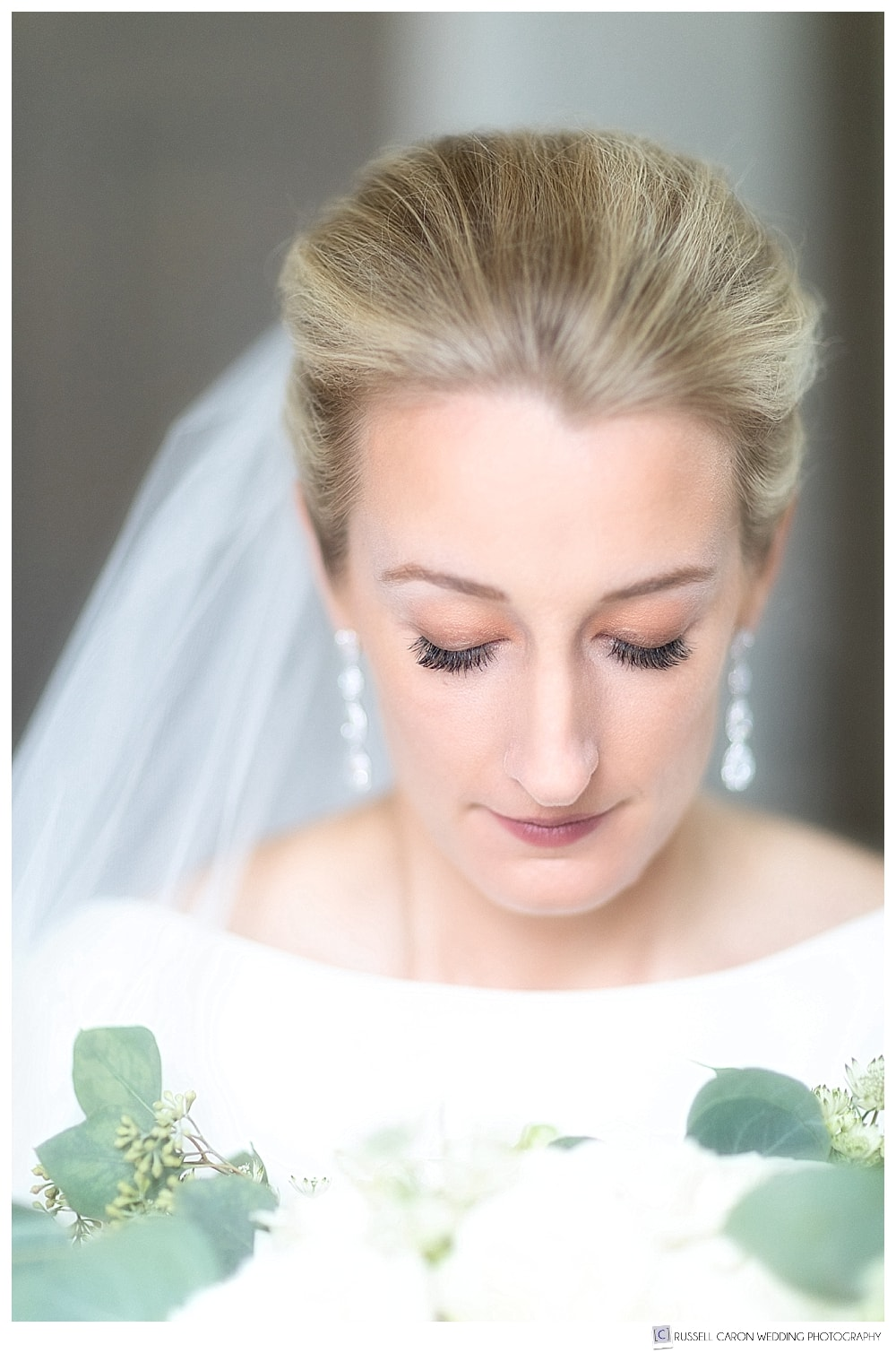 beautiful bridal portrait of bride with her eyes closed